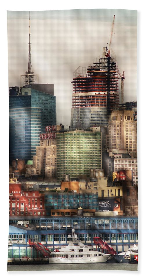 Savad Beach Towel featuring the photograph City - Hoboken Nj - New York Skyscrapers by Mike Savad