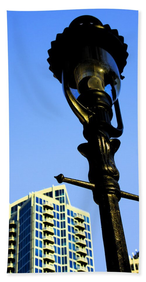 Lamp Post Beach Towel featuring the photograph City Lamp Post by Karol Livote