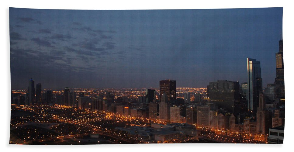 City Beach Towel featuring the photograph City Lights At Dawn by Gregory Lafferty