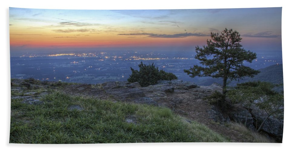 Mt. Nebo Beach Towel featuring the photograph City Lights From Sunrise Point At Mt. Nebo - Arkansas by Jason Politte