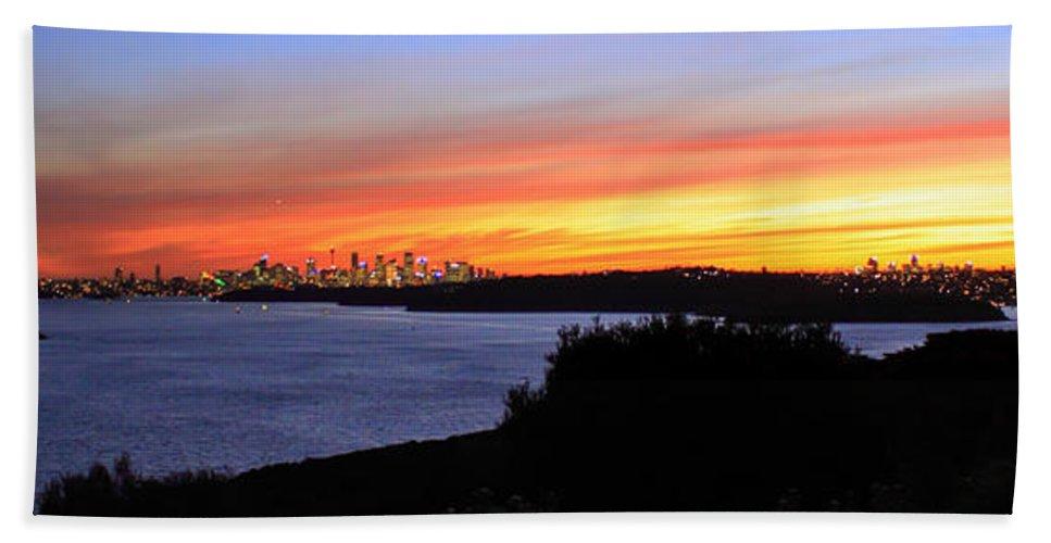 Sunset Beach Towel featuring the photograph City Lights In The Sunset by Miroslava Jurcik