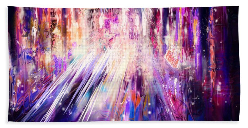 Abstract Beach Towel featuring the digital art City Nights City Lights by Rachel Christine Nowicki