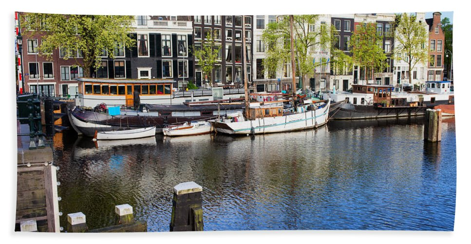 Amsterdam Beach Towel featuring the photograph City Of Amsterdam River View by Artur Bogacki