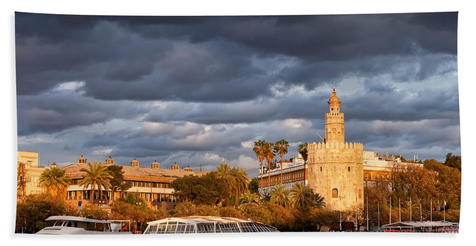 Guadalquivir Beach Towel featuring the photograph City Of Seville At Sunset by Artur Bogacki