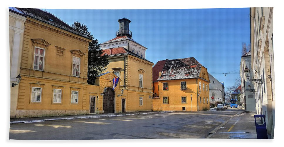 Croatia Beach Towel featuring the photograph City Of Zagreb Historic Upper Town by Brch Photography