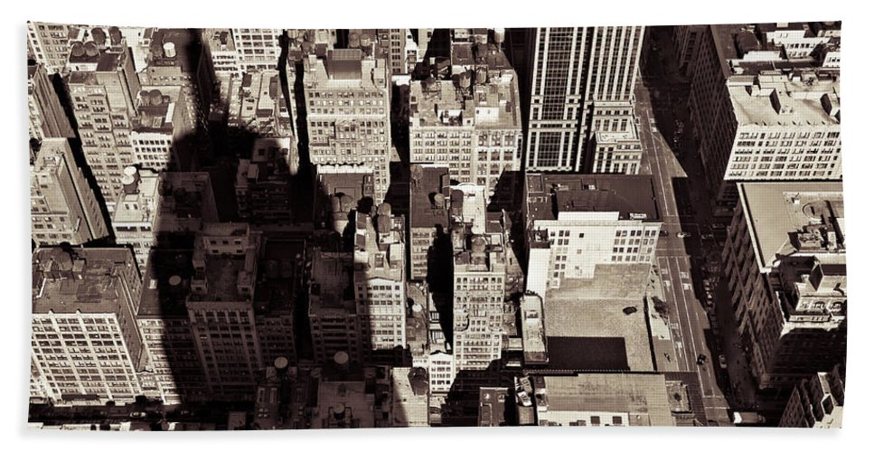 New York Beach Sheet featuring the photograph City Shadow by Dave Bowman