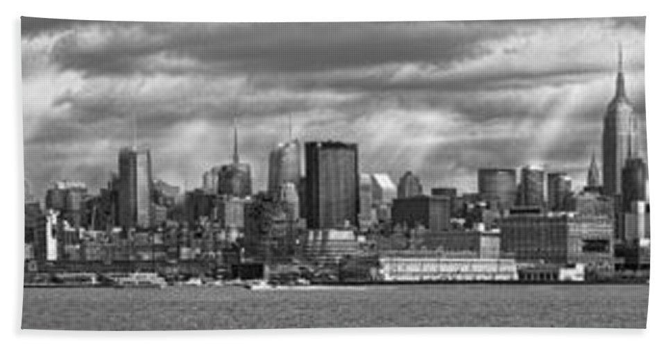 New York Beach Towel featuring the photograph City - Skyline - Hoboken Nj - The Ever Changing Skyline - Bw by Mike Savad