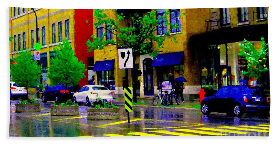 Rain Beach Towel featuring the painting City Street Relections In The Rain Quebec Art Colors And Seasons Montreal Scenes Carole Spandau by Carole Spandau