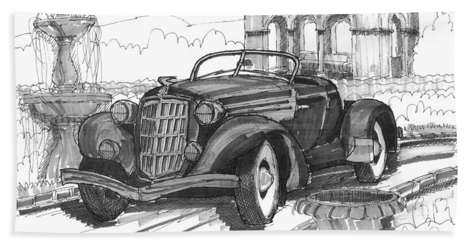 Classic Auto Beach Towel featuring the drawing Classic Auto With Formal Gardens by Richard Wambach