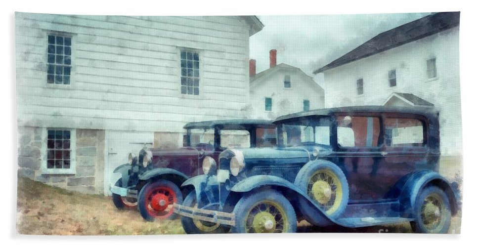 Car Beach Towel featuring the photograph Classic Ford Model A Cars by Edward Fielding