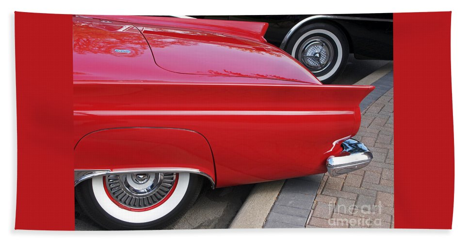 Classic Car Beach Towel featuring the photograph Classic Red And Black by Ann Horn