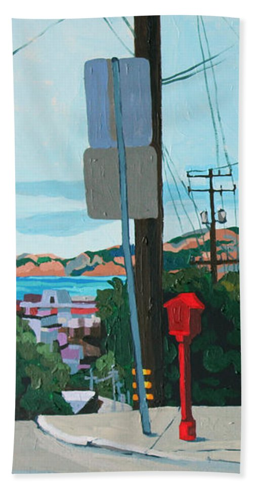 San Francisco Beach Towel featuring the painting Clear Day by Melinda Patrick