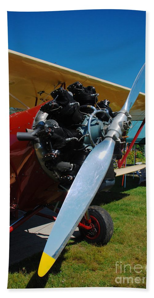 Radial Engine Bplane Propellor Airfield Aerodrome Hampton 7b3 New Hampshire Beach Towel featuring the photograph Clear Prop by Richard Gibb
