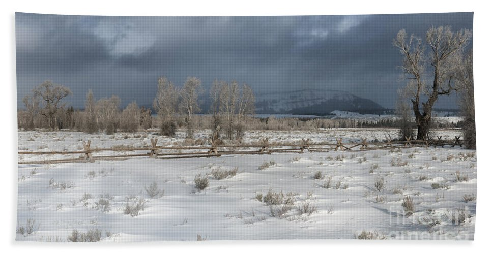Grand Teton Beach Towel featuring the photograph Clearing Storm In The Tetons by Sandra Bronstein