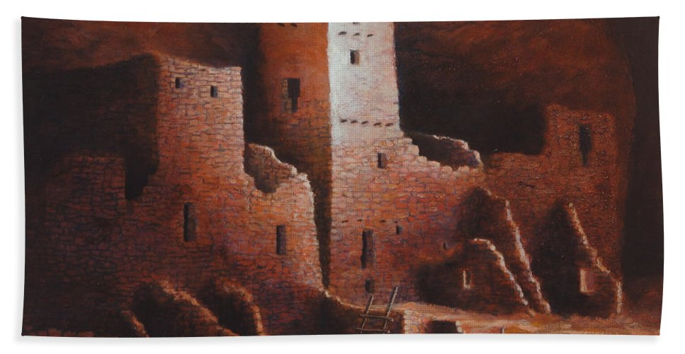 Anasazi Beach Towel featuring the painting Cliff Palace by Jerry McElroy