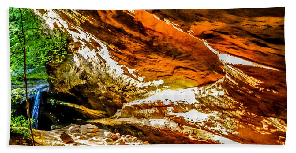 Cliff Beach Towel featuring the photograph Cliff Rocks And Waterfall by Optical Playground By MP Ray