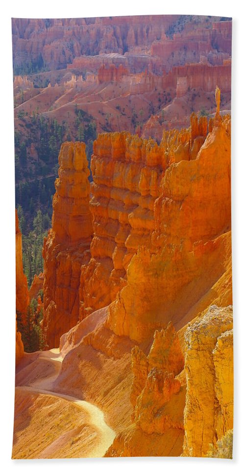 Canyons Beach Towel featuring the photograph climbing out of the Canyon by Jeff Swan