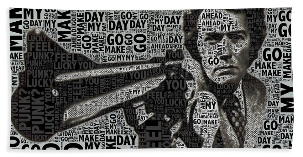 Clint Eastwood Beach Towel featuring the photograph Clint Eastwood Dirty Harry by Tony Rubino