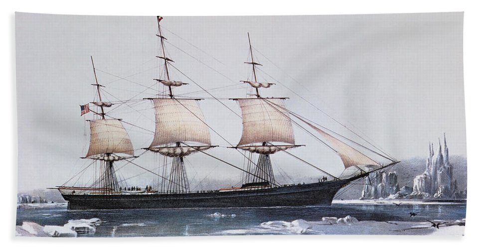 Ice Floes Beach Towel featuring the painting Clipper Ship Red Jacket In The Ice Off Cape Horn On Her Passage From Australia To Liverpool by American School