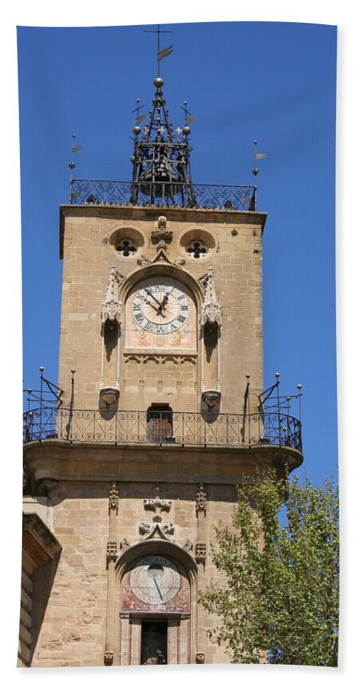 Clock Beach Towel featuring the photograph Clocktower - Aix En Provence by Christiane Schulze Art And Photography