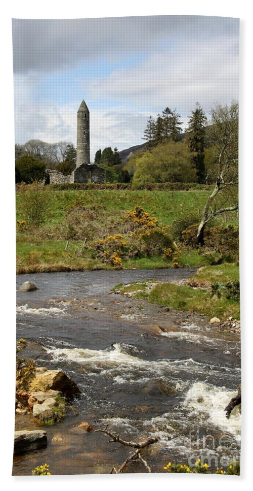 Cloister Beach Towel featuring the photograph Cloister Glendalough by Christiane Schulze Art And Photography