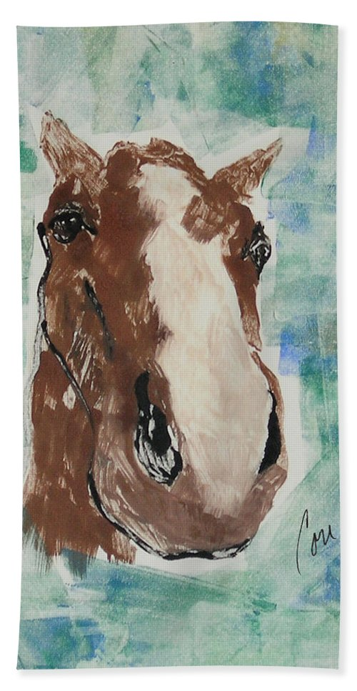 Horse Beach Towel featuring the mixed media Close Up by Cori Solomon