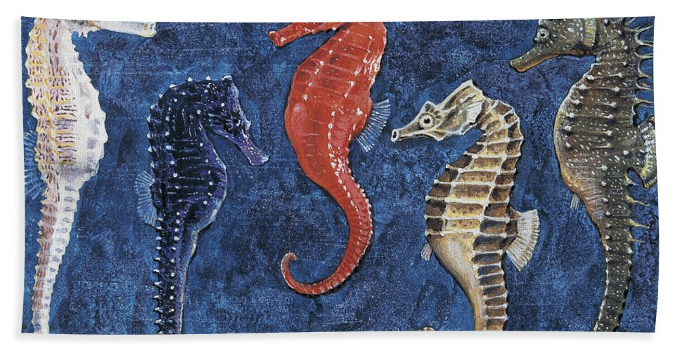 Biology; Zoology; Animalia Beach Towel featuring the drawing Close-up Of Five Seahorses Side By Side by English School