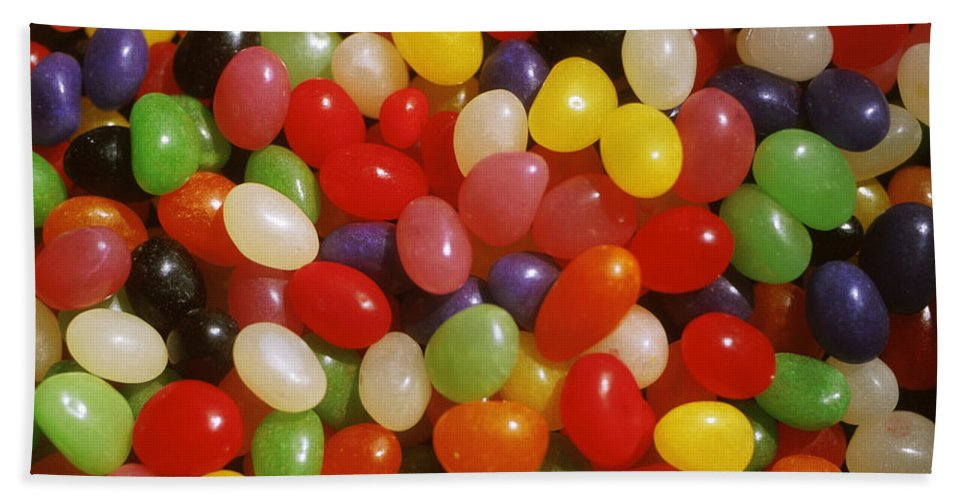 Close-up; Full Frame; Differential Focus; Backgrounds; Abundance; Simplicity; Jelly Beans; Colorful; Heap; Shiny; Sweet Food; Sweets; Candies Beach Towel featuring the photograph Close Up Of Jelly Beans by Anonymous