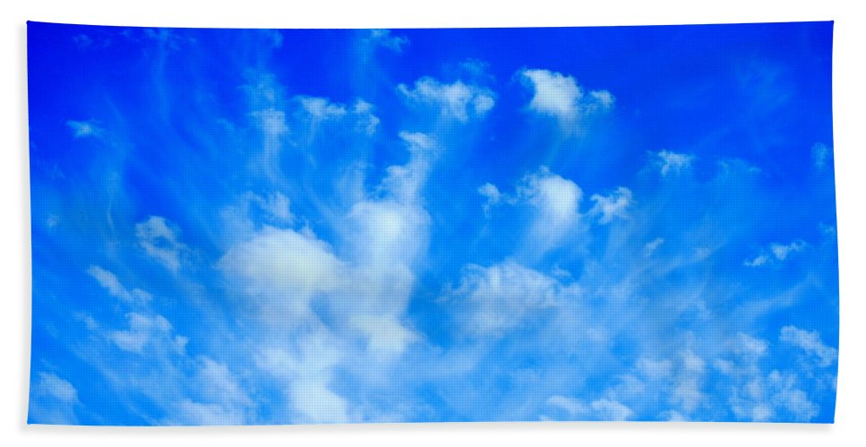 Blue Beach Towel featuring the photograph Cloud Formations I by Kathy Sampson