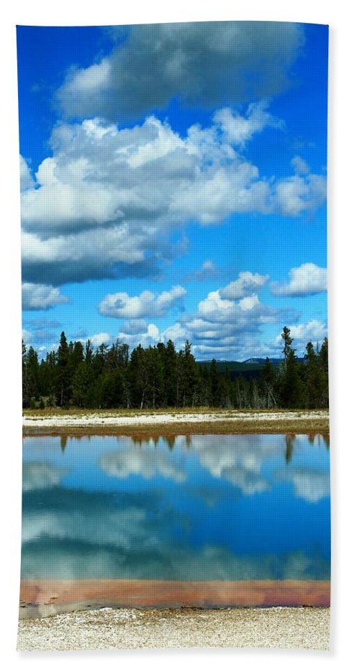 Yellowstone National Park Beach Towel featuring the photograph Cloud Reflections by Catie Canetti