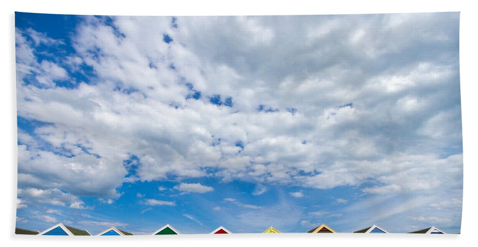 Beach Beach Towel featuring the photograph Clouds And Sheds by Jenny Setchell