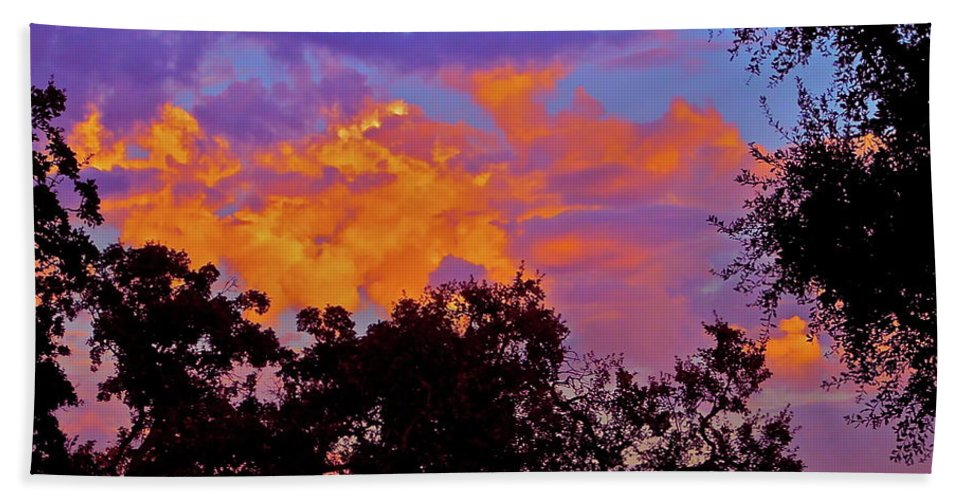 Sunset Beach Towel featuring the photograph Clouds by Pamela Cooper