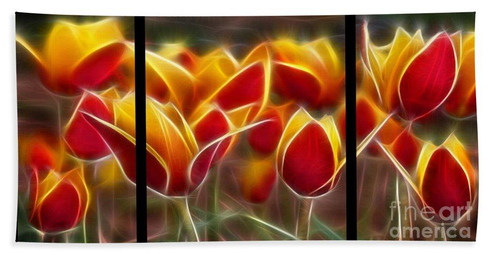 Cluisiana Beach Towel featuring the digital art Cluisiana Tulips Triptych by Peter Piatt