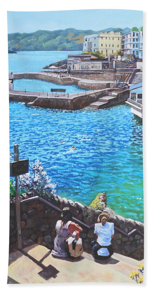 Plymouth Beach Towel featuring the painting Coast Of Plymouth City Uk by Martin Davey