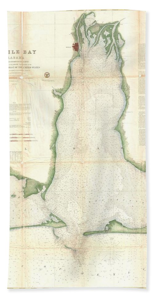 Beach Towel featuring the photograph Coast Survey Map Of Mobile Bay Alabama by Paul Fearn