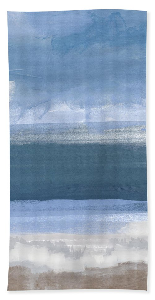 Coastal Beach Towel featuring the painting Coastal- Abstract Landscape Painting by Linda Woods