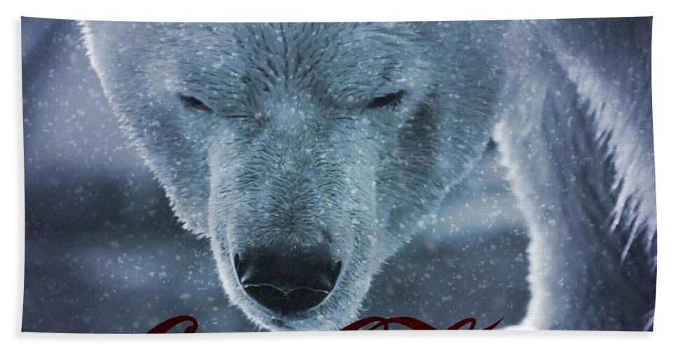 Coca Cola Polar Bear Beach Towel featuring the photograph Coca Cola Polar Bear by Dan Sproul