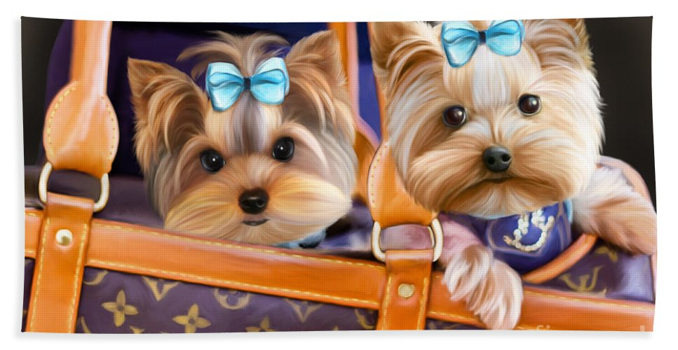Yorkies Beach Towel featuring the mixed media Coco And Lola by Catia Lee