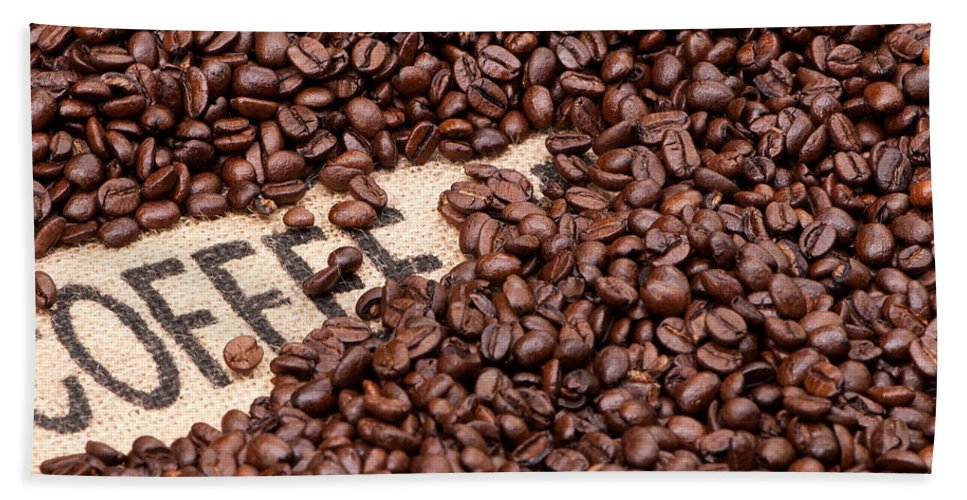 Arabica Beach Towel featuring the photograph Coffee Beans by Rick Piper Photography