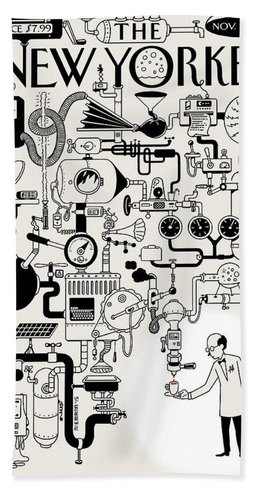 142340 Beach Sheet featuring the painting Coffee Break by Christoph Niemann