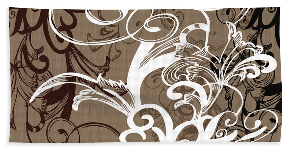 Flowers Beach Towel featuring the digital art Coffee Flowers 1 by Angelina Vick