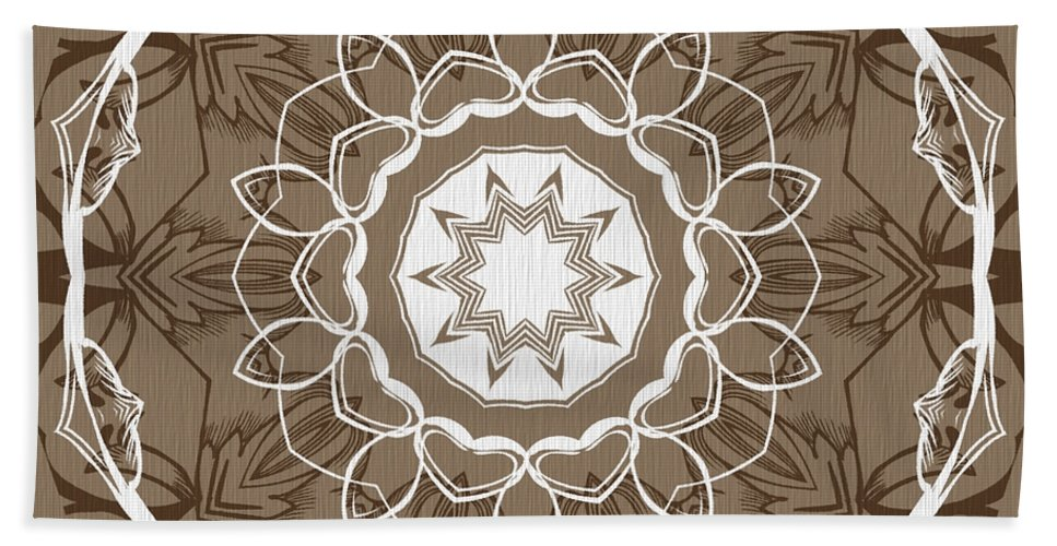 Intricate Beach Towel featuring the digital art Coffee Flowers 1 Ornate Medallion by Angelina Vick