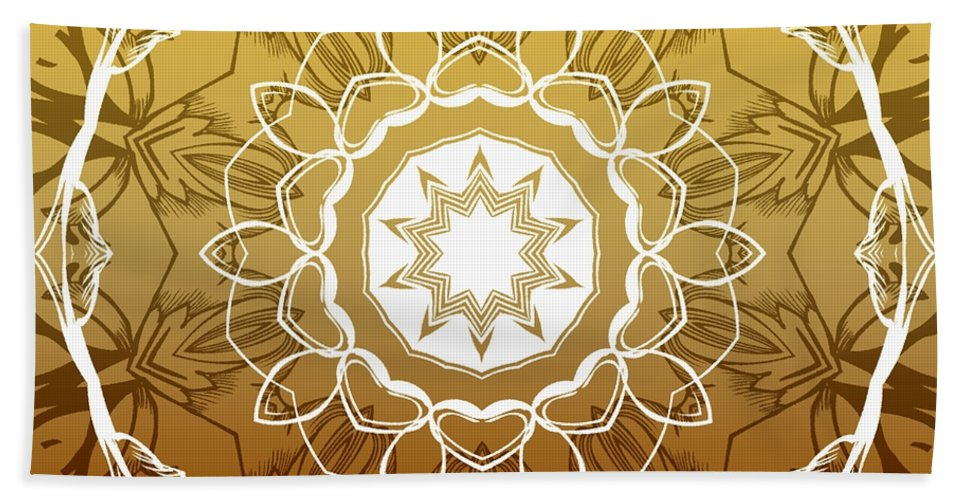 Intricate Beach Towel featuring the digital art Coffee Flowers 1 Ornate Medallion Calypso by Angelina Vick