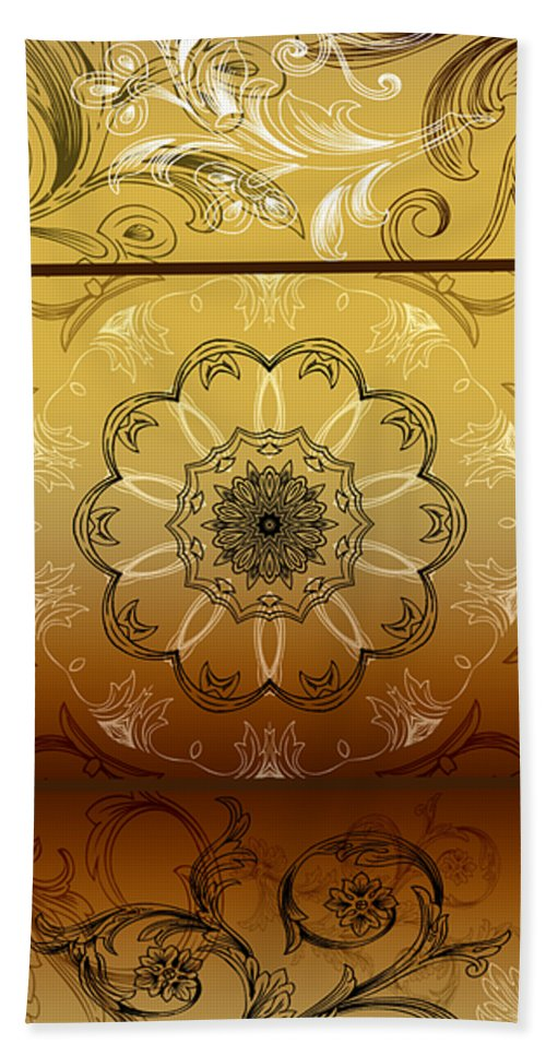 Intricate Beach Towel featuring the digital art Coffee Flowers Calypso Triptych 4 Vertical by Angelina Vick