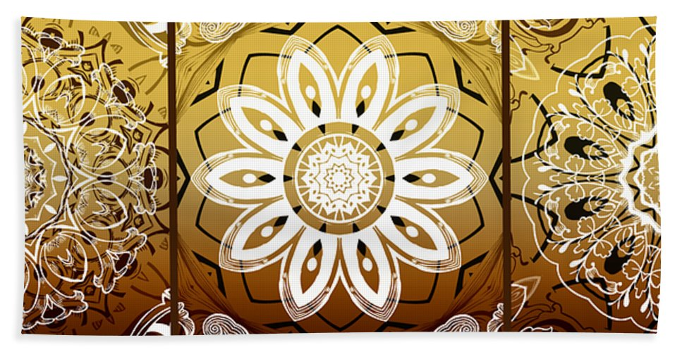 Intricate Beach Towel featuring the digital art Coffee Flowers Medallion Calypso Triptych 2 by Angelina Vick