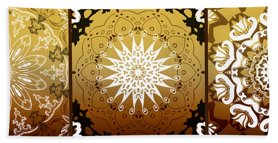 Intricate Beach Towel featuring the digital art Coffee Flowers Medallion Calypso Triptych 3 by Angelina Vick
