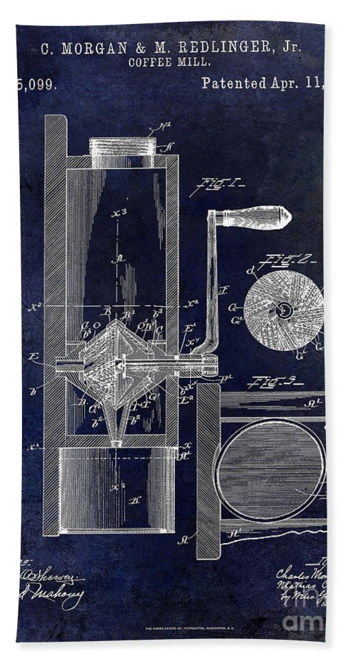 Coffee Mill Patent 1893 Beach Towel featuring the photograph Coffee Mill Patent 1893 Blue by Jon Neidert