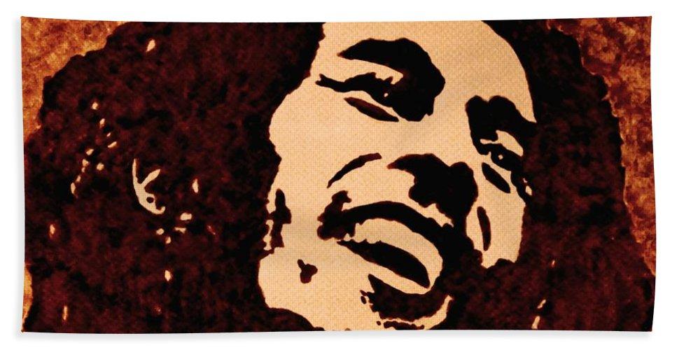 Bob Marley Pop Art Coffee Painting On Paper Beach Towel featuring the painting Coffee Painting Bob Marley by Georgeta Blanaru