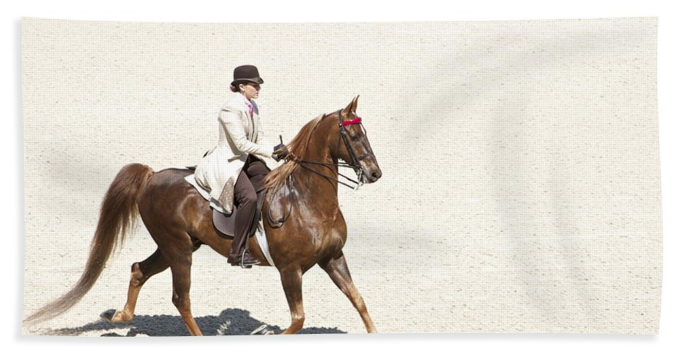 Saddlebred Beach Towel featuring the photograph Coffee Saddlebred by Alice Gipson