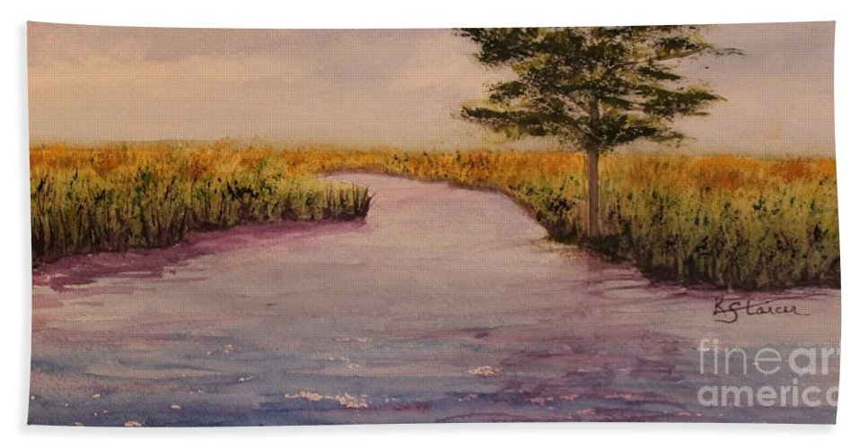 Landscape Beach Towel featuring the painting Coinjock Nc by Kathy Staicer